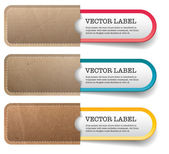 Three vector banners - stickers - badges in vintage cardboard paper pockets — Stock Vector