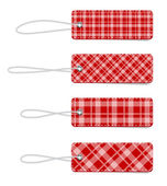 Red vector tartan fabric textured badges with straps — Stock Vector