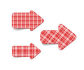 Red vector tartan fabric textured arrows — Stock Vector