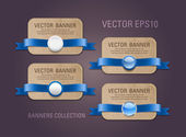 A set of vector horizontal cardboard paper promo banners decorated with blue ribbons and various buttons - seals — Vecteur