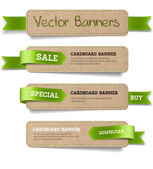 A set of vector promo cardboard paper banners decorated with green ribbon tags — Stock Vector