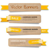 A set of vector promo cardboard paper banners decorated with yellow ribbon tags — Stock Vector