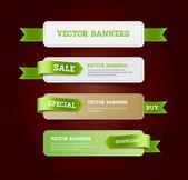 Een set van vector promo banners ingericht met groene lint tags — Stockvector