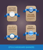 A set of vector vertical cardboard paper promo banners decorated with blue ribbons and various buttons - seals — Stockvector