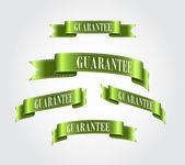 绿色光泽柔顺丝带保证标记集合 — 图库矢量图片