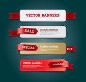 A set of vector promo banners decorated with red ribbon tags — Stock Vector