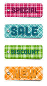 Colorful vector tartan fabric textured badges collection: Special, Sale, Discount, New — ストックベクタ