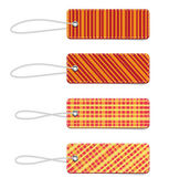 Orange vector tartan fabric textured badges with straps — Stock Vector