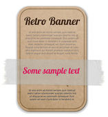 Vector cardboard label - badge - banner attached with a sticky tape — Stock Vector