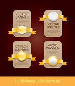 A set of vector vertical cardboard paper promo banners decorated with yellow ribbons and various buttons - seals — Stok Vektör