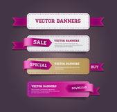 Zestaw bannery promocyjne wektor zdobione fioletowy wstążka tagi — Wektor stockowy