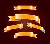Golden yellow blank silky vector ribbon tags collection — Stock Vector