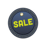 Blue vector denim round Sale tag with border — Stock Vector