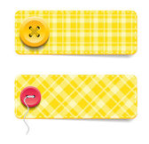 Yellow vector tartan fabric textured badges with buttons — Stock Vector