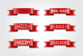 "Vector silky ribbon tags collection. ""Premium quality"", ""Sale"", ""Discount"" — Wektor stockowy"