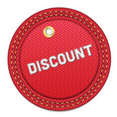 Red vector denim round Discount tag with border — Stock Vector