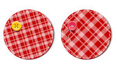 Red vector tartan fabric textured badges with buttons — Stock Vector