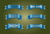 "Vector silky ribbon tags collection. ""Premium quality"", ""Sale"", ""Discount"" — Stock vektor"