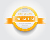 "Vector plastic round badge - banner decorated with yellow ribbon, ""Premium"" — Wektor stockowy"