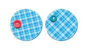 Tela de tartán azul vector textura insignias con botones — Vector de stock