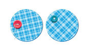 Blue vector tartan fabric textured badges with buttons — Stock Vector
