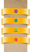 A set of vector yellow ribbon tags - bands with colorful buttons — Stock Vector