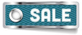 Blue shiny metallic chrome vector Sale tag with fabric and stitched letters — Stock Vector