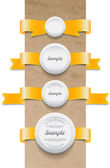 A set of vector yellow ribbon tags with white round plastic sealing badges — Stock Vector