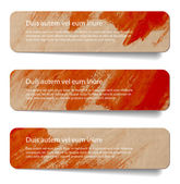 Red abstract vintage old paper banners - stickers - badges with hand painted brush strokes background — Stock Vector