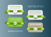 A set of horizontal vector promo banners decorated with green ribbons and various plastic round seals — Stock Vector