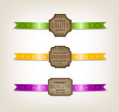 """Vector vintage old paper tags - labels collection decorated with satin ribbons """"Premium quality"""" — Vector de stock"""