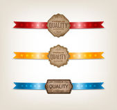 "Vector vintage old paper tags - labels collection decorated with satin ribbons ""Premium quality"" — Stock Vector"