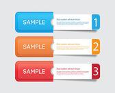 Tres vectores papel etiquetas - etiquetas - banners en los bolsillos, uno dos tres pasos — Vector de stock