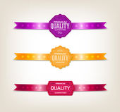 """Vettore tag vintage - collezione di etichette decorate con nastri di raso """"qualità premium"""" — Vettoriale Stock"""
