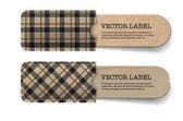 Vector astratta d'epoca vecchia carta tag con tasche tartan marrone con texture — Vettoriale Stock