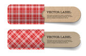 Abstract vector vintage old paper tags with red tartan textured pockets — Stock Vector