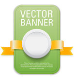 Green vertical vector banner with golden yellow ribbon and white plastic button — Stock Vector