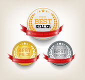 "Vector round badges with red ribbons ""Best choice"", ""Bestseller"", ""Best price"" — Stock Vector"