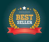 "Ročník vektor kolo odznak s červenou stuhou ""bestseller' — Stock vektor"