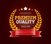 """Vintage vector round badge with red ribbon """"Premium quality"""" — Stock Vector"""