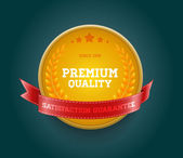 "Golden yellow vector round badge with red ribbon ""Premium quality"" — Stock Vector"