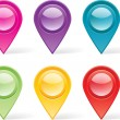Stock Vector: Set of colorful map markers