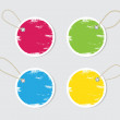 Vector cardboard retro vintage colorful badges set with straps and worn out paint — Stock vektor