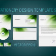 Green vector stationery design template set — Stock Vector