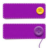 Vector del dril de algodón tela rectangular colorido insignias con botones — Vector de stock