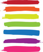 Rainbow vector brush strokes collection — Stock Vector