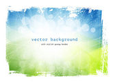 Green and blue vector smooth modern wavy background with grungy border — Stock Vector