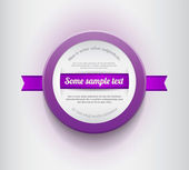 Wit - paarse vector ronde plastic badge met paars lint — Stockvector