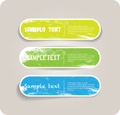 Three vector grungy paper stickers — Stock Vector