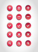 A set of red vector round web buttons — Stock Vector